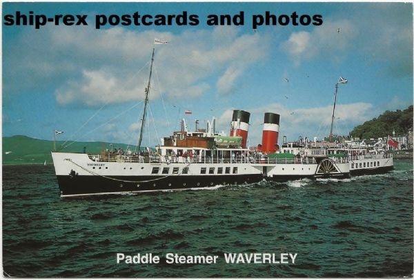 WAVERLEY (1947, Waverley Excursions) at Rothesay, postcard (a)